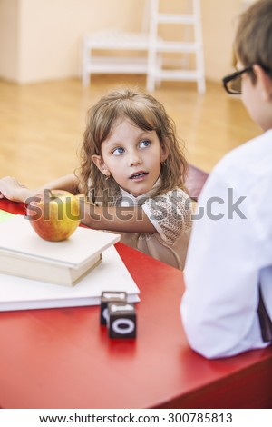 Boy, girl children in the school has a happy, curious, smart. Education, day of knowledge, science, generation, pre-school. - stock photo