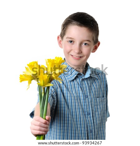 boy giving a narcissus- isolated - stock photo