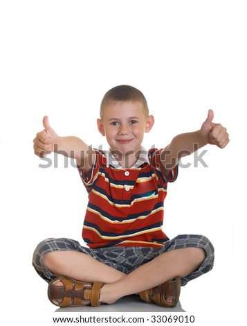 boy giving OK - stock photo