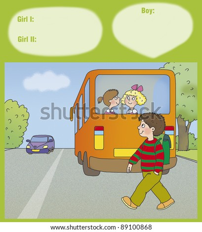boy goes way back the bus - stock photo