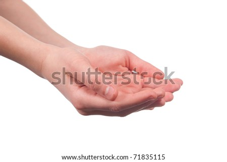 Boy hands open. Isolated on white background - stock photo