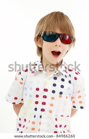 boy happy with 3d glasses isolated on white background - stock photo