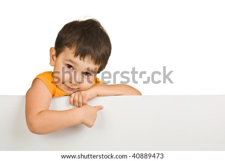 boy holding a blank sign on white background - stock photo