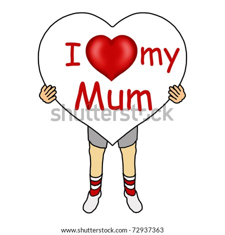 Boy holding a heart for Mother's Day - stock photo