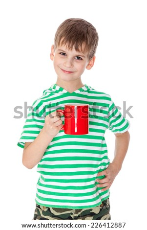 Boy holding a red cup isolated on white - stock photo