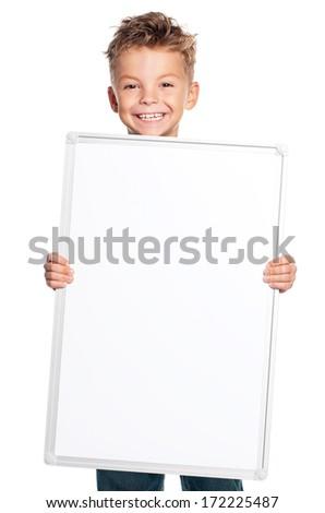 Boy holding banner isolated on white background  - stock photo