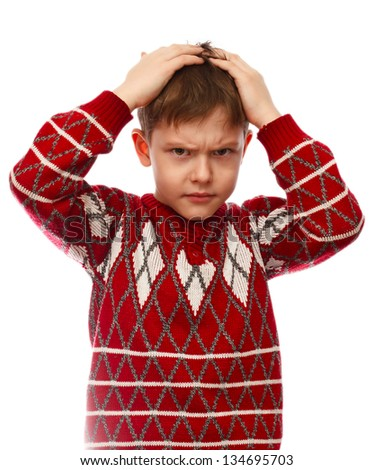 Boy holding his head hurt a young man hands stress and depression severity sadness isolated on white background - stock photo