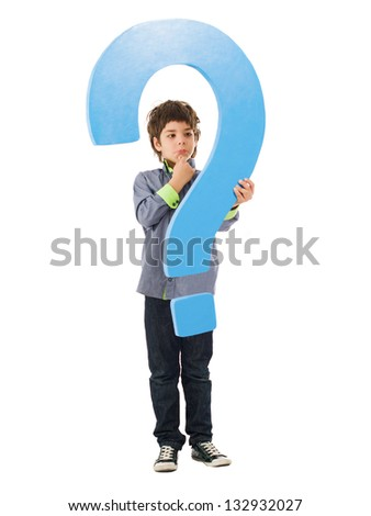 Boy Holding Question Mark Sign On White Background - stock photo