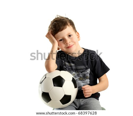 boy holding soccer ball and recreation isolated on white background - stock photo