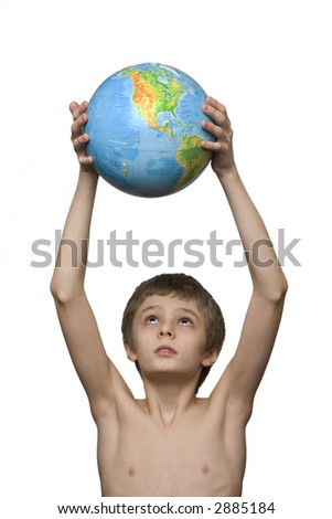 boy holding the globe with Americas on foreground - stock photo