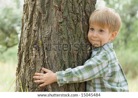 boy hugs a tree in forest - child care ecology environment nature - stock photo