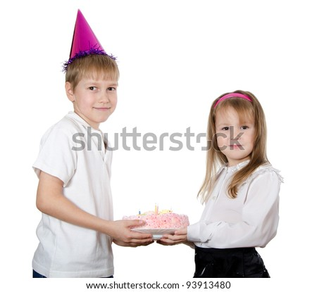 Boy in a cap with a pie - stock photo