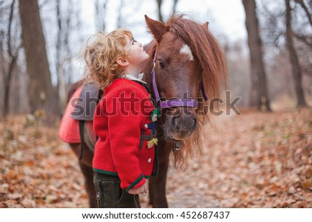 Boy in a hat of Santa Claus and his pony. Autumn in the park  - stock photo