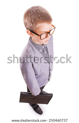 Boy in a suit isolated on the white - stock photo