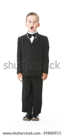 Boy in a suit singing. - stock photo