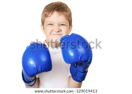 Boy in blue boxing gloves, isolated on white background. Healthy lifestyle concept. - stock photo