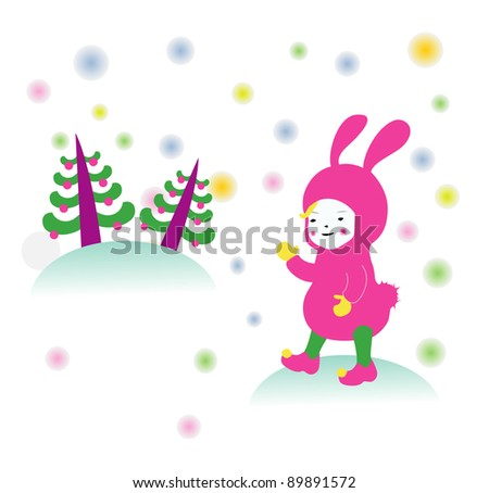 boy in bunny suit - stock photo