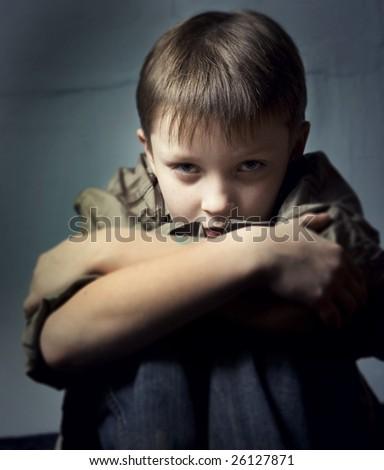 Boy in depression II - stock photo