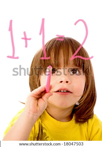 boy in primary school education doing maths isolated over a white background - stock photo