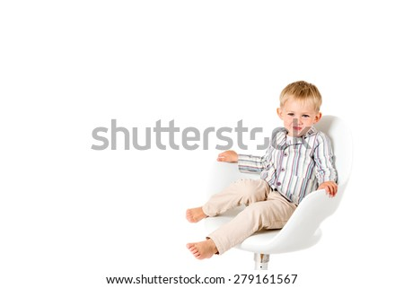 Boy in shirt shot in the studio on a white background - stock photo
