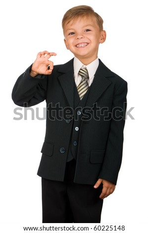 Boy in suit isolated on white background. Beautiful caucasian model. - stock photo
