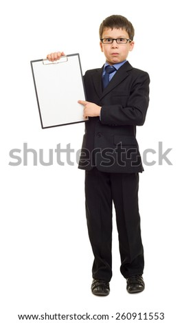 boy in suit show blank sheet clipboard - stock photo