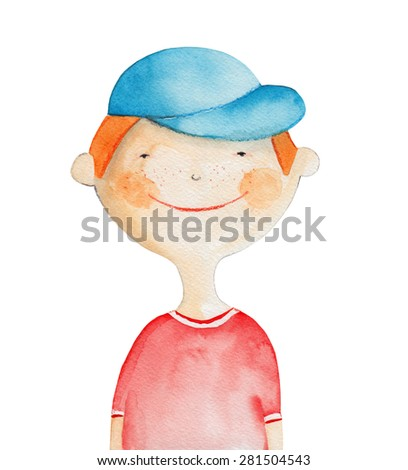 Boy in the cap. Watercolor illustration. Hand drawing - stock photo