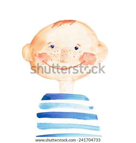 boy in the striped t-shirt. watercolor illustration - stock photo