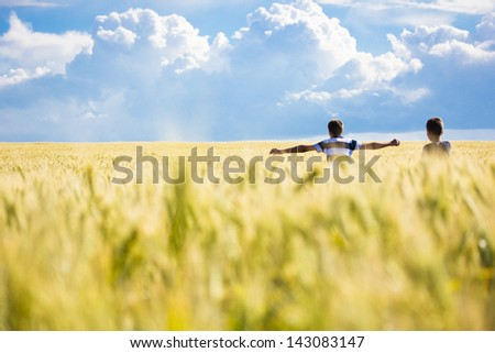 boy in the wheat field - stock photo