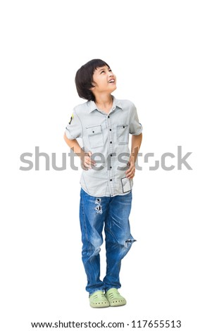 Boy is looking up, Isolated over white with clipping path - stock photo