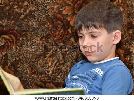 Boy is reading a book.  Boy is reading a book enthusiastically, sitting in a chair. - stock photo
