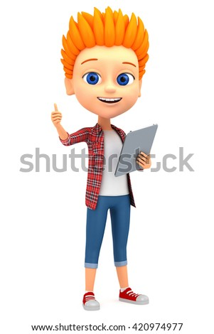 Boy isolated on white background two thumbs up. 3d rendered illustration. - stock photo
