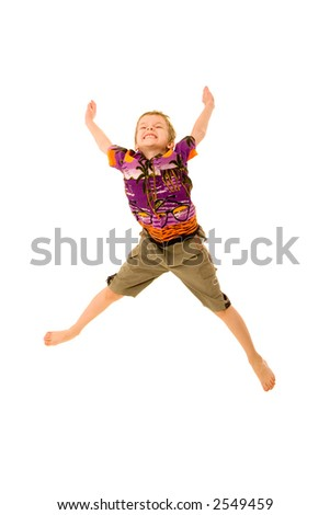 boy jumps on a white background - stock photo