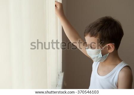 boy kid epidemic flu medicine child  medical mask hospital - stock photo