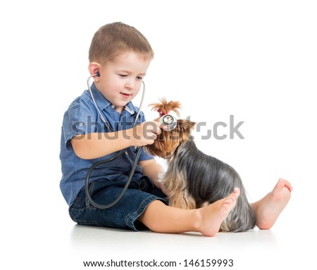 boy kid examining dog - stock photo