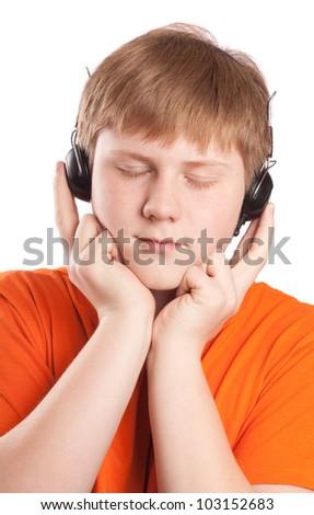 boy listen music - stock photo