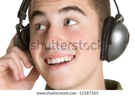 Boy Listening to Headphones - stock photo