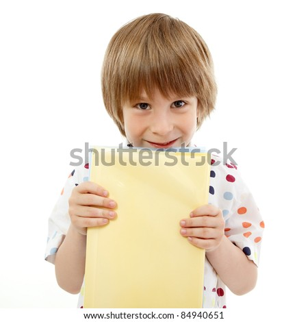 boy little funny cheerful learning with books isolated on white background - stock photo