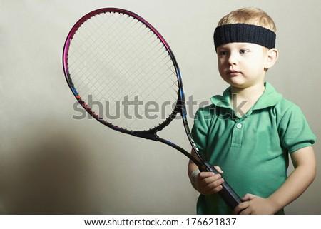 Boy.Little Sportsman Playing Tennis. Sport Children. Child with Tennis Racket - stock photo