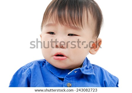 boy looking at the camera on his face  - stock photo