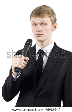 boy meets in microphone isolated on a white background - stock photo