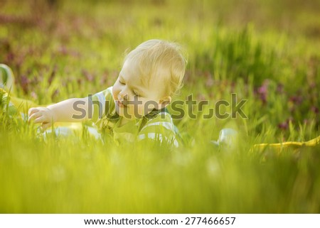 Boy on a green lawn - stock photo