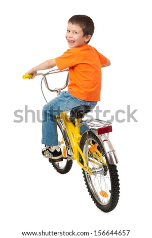 boy on bicycle isolated on white - stock photo