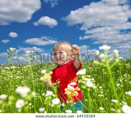 boy playful on meadow - stock photo