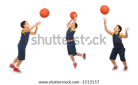 Boy playing basketball isolated. Different positions. From my sport series. - stock photo