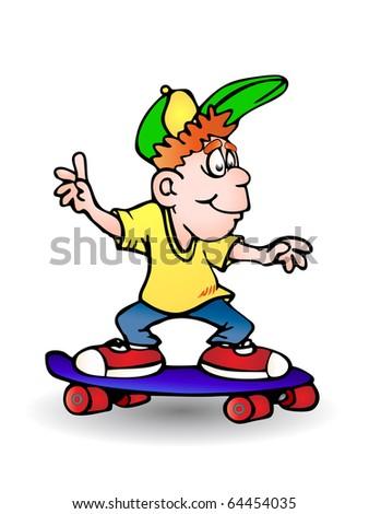 boy playing skateboard on isolated white background illustration - stock photo