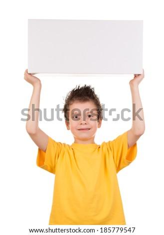boy portrait with gift box on white - stock photo