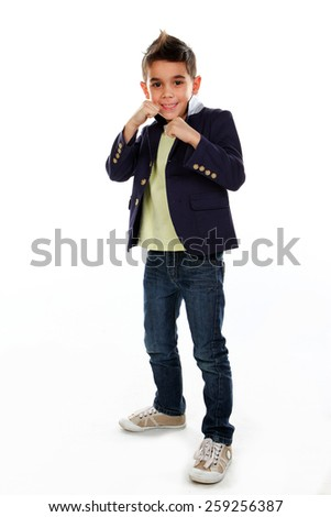 Boy posing in studio isolated on white. - stock photo