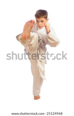 boy practicing self defense - stock photo