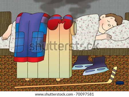 boy put it on the electric heater wet clothes and sleeping - stock photo